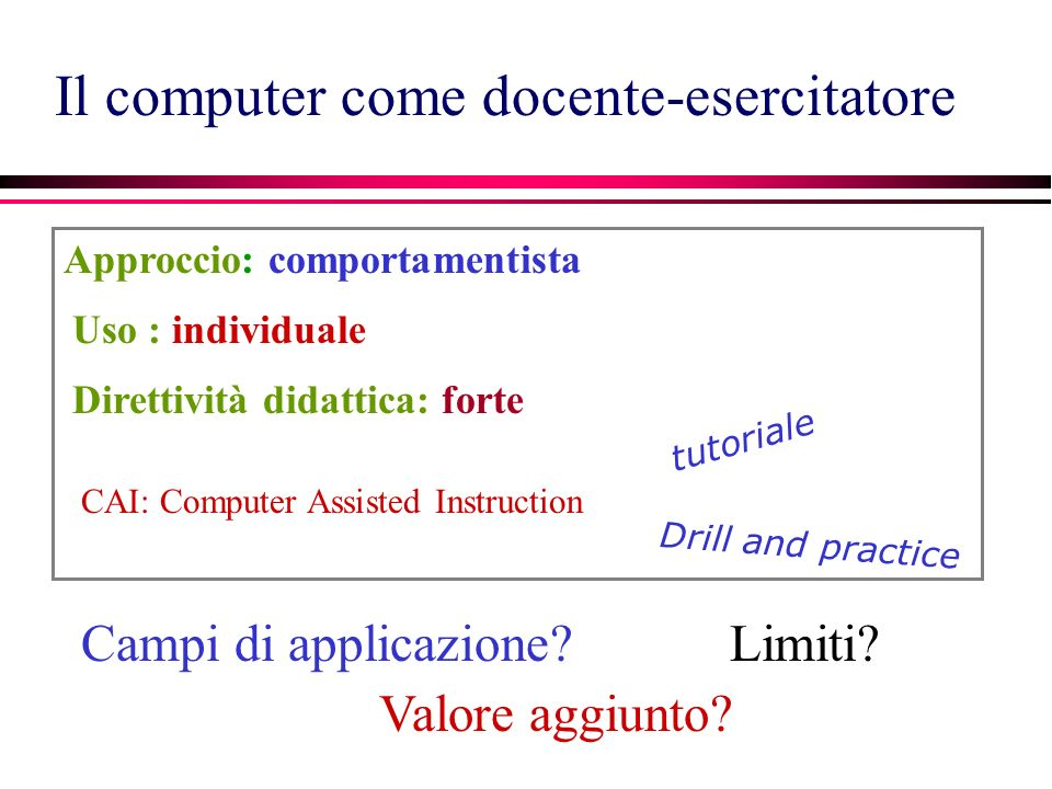 Il computer come docente-esercitatore CAI: Computer Assisted Instruction Approccio: comportamentista tutoriale Drill and practice Uso : individuale Campi di applicazione.