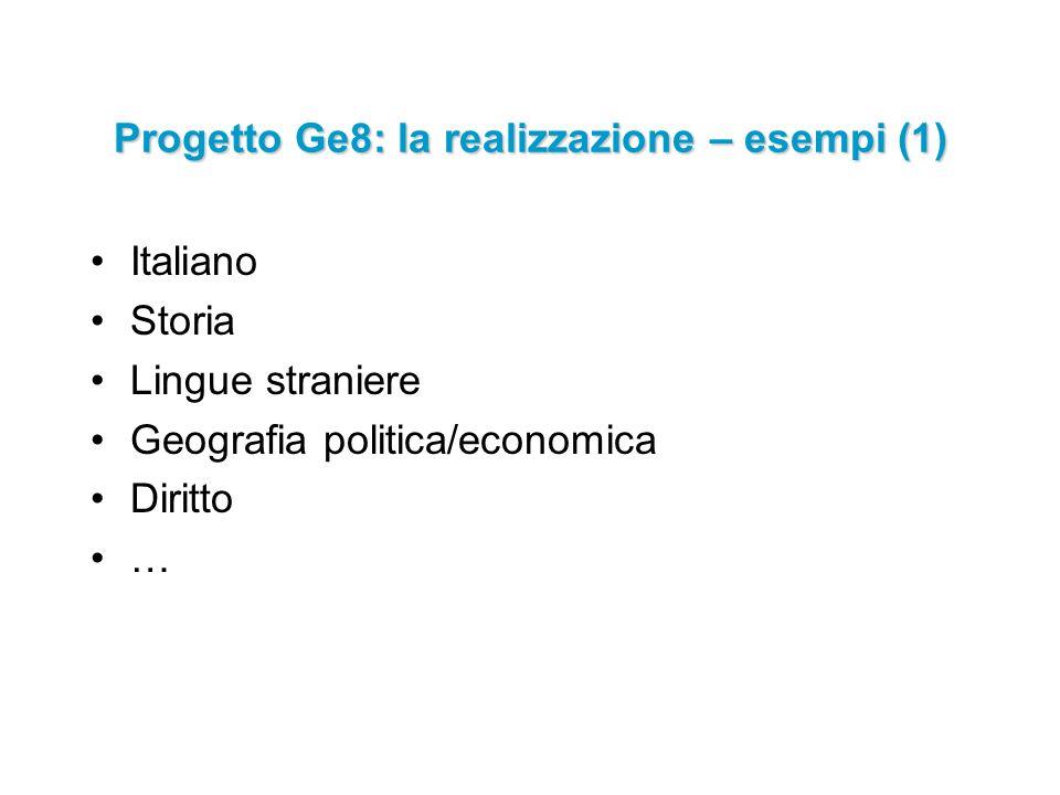 Italiano Storia Lingue straniere Geografia politica/economica Diritto … Progetto Ge8: la realizzazione – esempi (1)