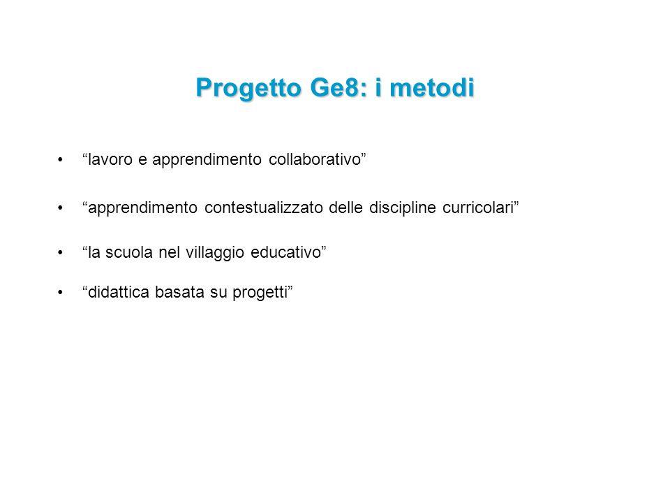 lavoro e apprendimento collaborativo apprendimento contestualizzato delle discipline curricolari la scuola nel villaggio educativo didattica basata su progetti Progetto Ge8: i metodi