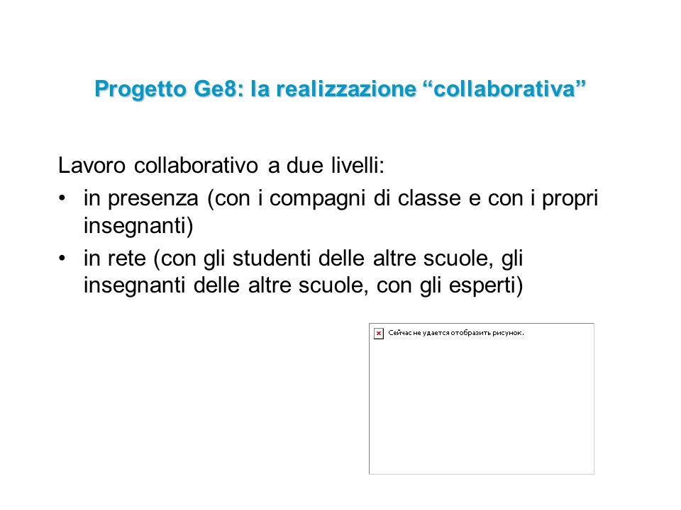 Progetto Ge8: la realizzazione collaborativa Lavoro collaborativo a due livelli: in presenza (con i compagni di classe e con i propri insegnanti) in rete (con gli studenti delle altre scuole, gli insegnanti delle altre scuole, con gli esperti)