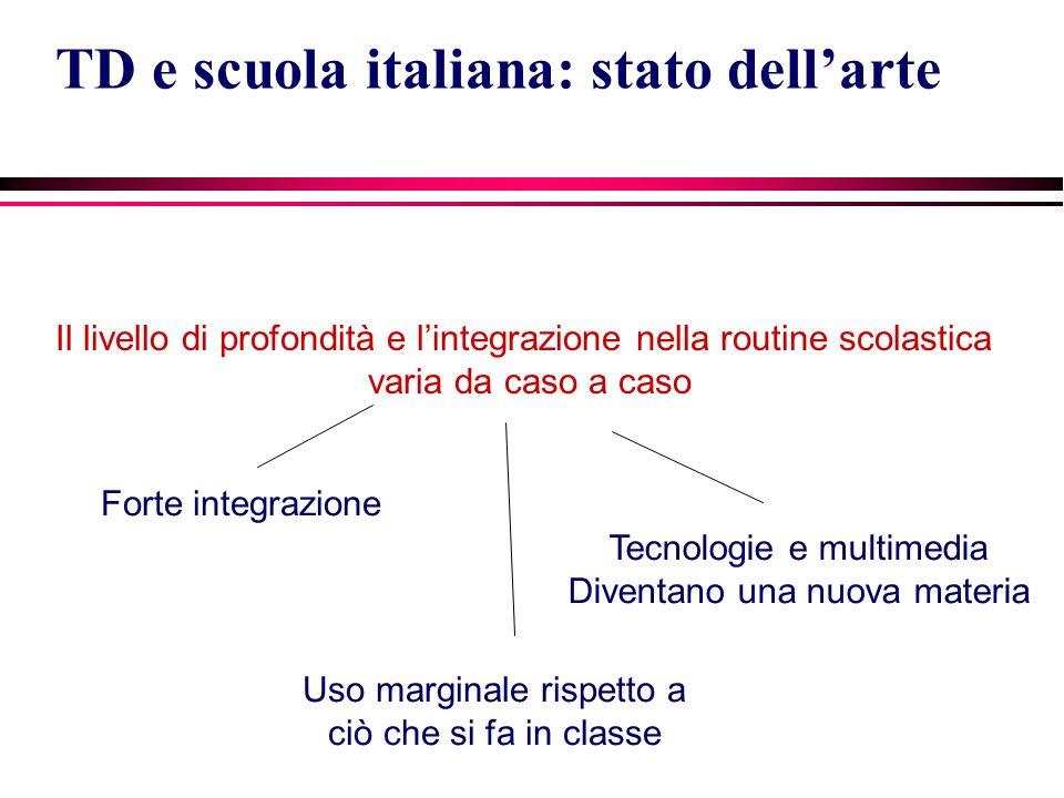 Il livello di profondità e lintegrazione nella routine scolastica varia da caso a caso TD e scuola italiana: stato dellarte Forte integrazione Uso mar