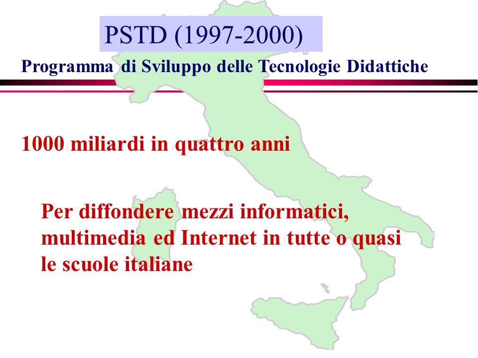 Programma di Sviluppo delle Tecnologie Didattiche 1000 miliardi in quattro anni PSTD (1997-2000) Per diffondere mezzi informatici, multimedia ed Internet in tutte o quasi le scuole italiane