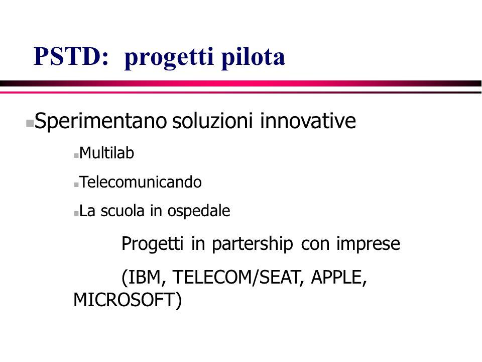 Sperimentano soluzioni innovative Multilab Telecomunicando La scuola in ospedale Progetti in partership con imprese (IBM, TELECOM/SEAT, APPLE, MICROSOFT) PSTD: progetti pilota