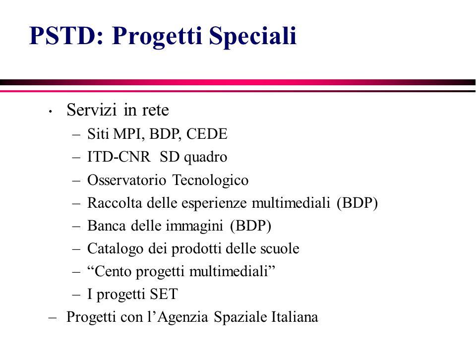 PSTD: Progetti Speciali Servizi in rete –Siti MPI, BDP, CEDE –ITD-CNR SD quadro –Osservatorio Tecnologico –Raccolta delle esperienze multimediali (BDP