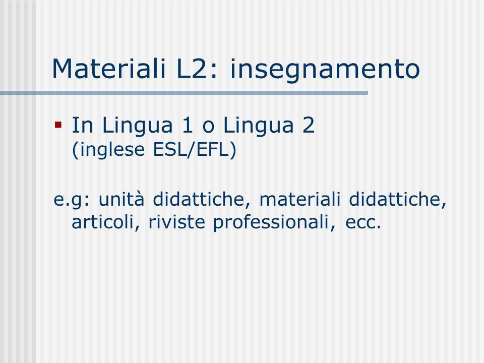 Materiali L2: insegnamento In Lingua 1 o Lingua 2 (inglese ESL/EFL) e.g: unità didattiche, materiali didattiche, articoli, riviste professionali, ecc.