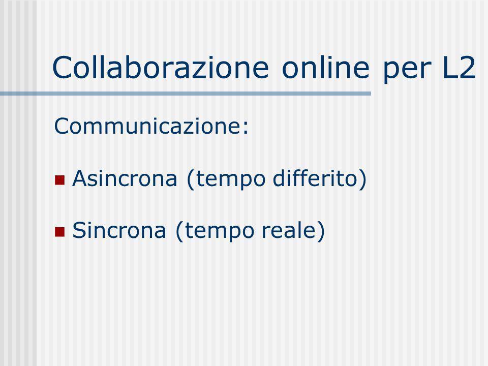 Collaborazione online per L2 Communicazione: Asincrona (tempo differito) Sincrona (tempo reale)
