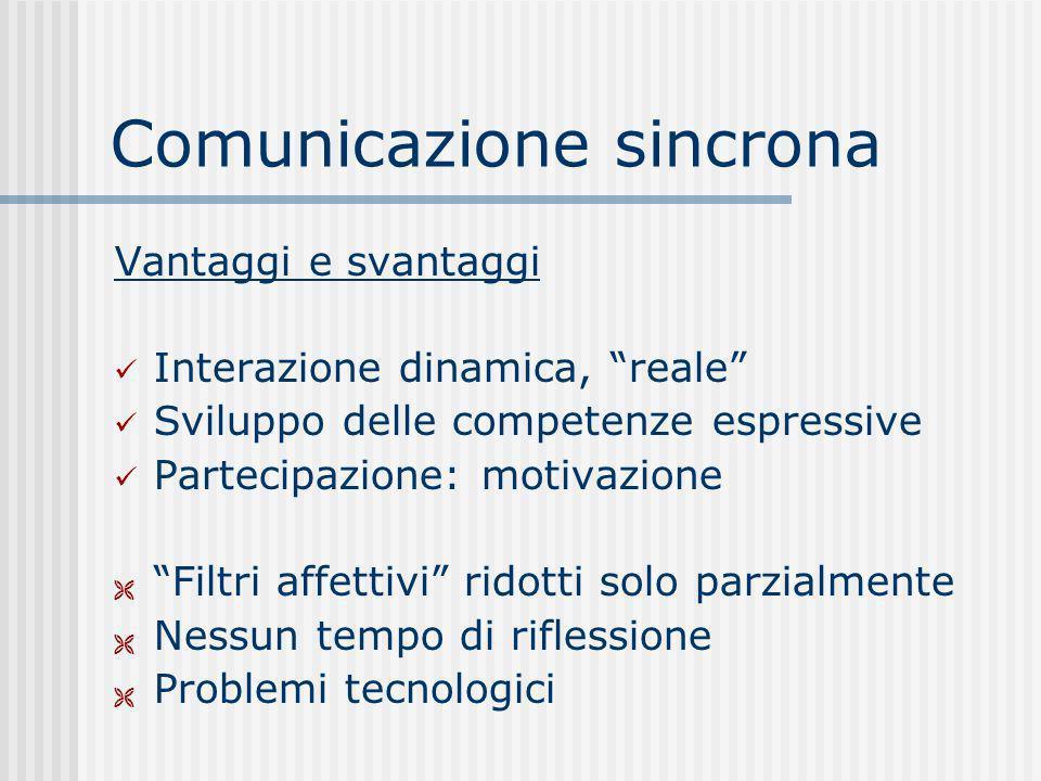 Comunicazione sincrona Vantaggi e svantaggi Interazione dinamica, reale Sviluppo delle competenze espressive Partecipazione: motivazione Filtri affett