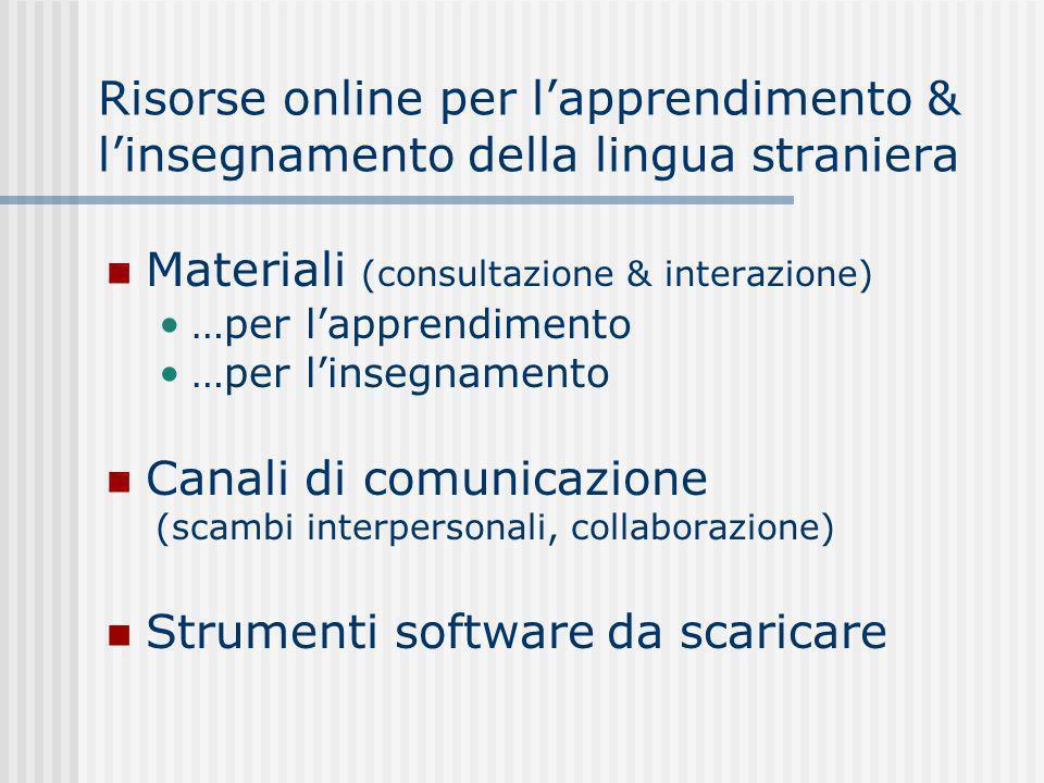 Risorse online per lapprendimento & linsegnamento della lingua straniera Materiali (consultazione & interazione) …per lapprendimento …per linsegnamento Canali di comunicazione (scambi interpersonali, collaborazione) Strumenti software da scaricare