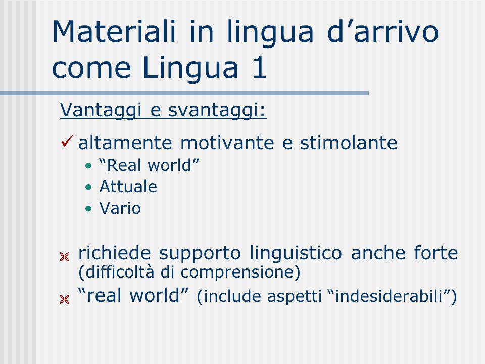 Materiali in lingua darrivo come Lingua 1 Vantaggi e svantaggi: altamente motivante e stimolante Real world Attuale Vario richiede supporto linguistic