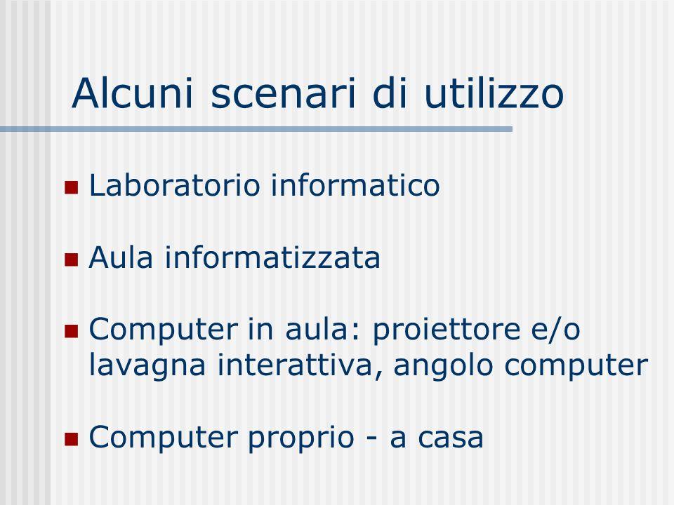 Alcuni scenari di utilizzo Laboratorio informatico Aula informatizzata Computer in aula: proiettore e/o lavagna interattiva, angolo computer Computer proprio - a casa