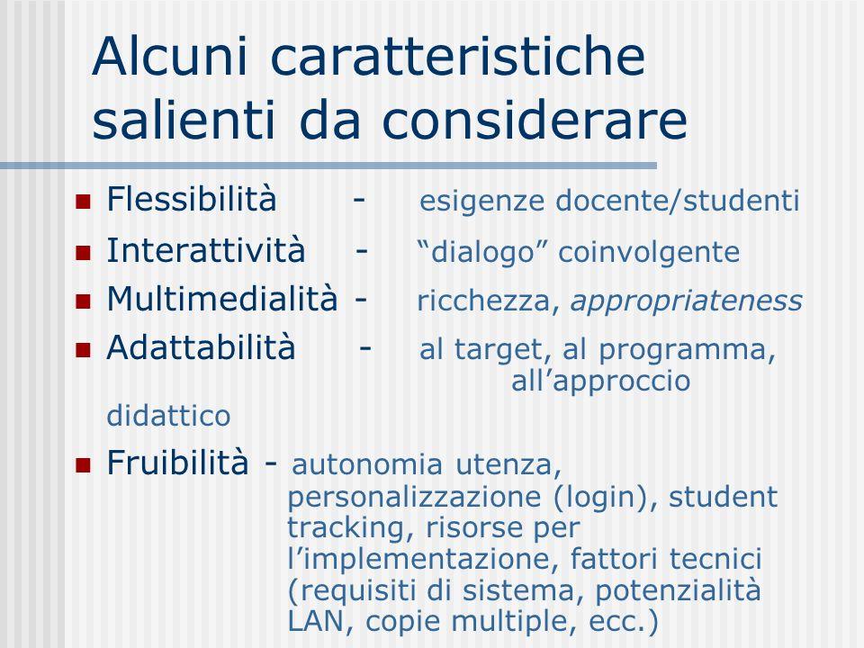 Alcuni caratteristiche salienti da considerare Flessibilità - esigenze docente/studenti Interattività - dialogo coinvolgente Multimedialità - ricchezz
