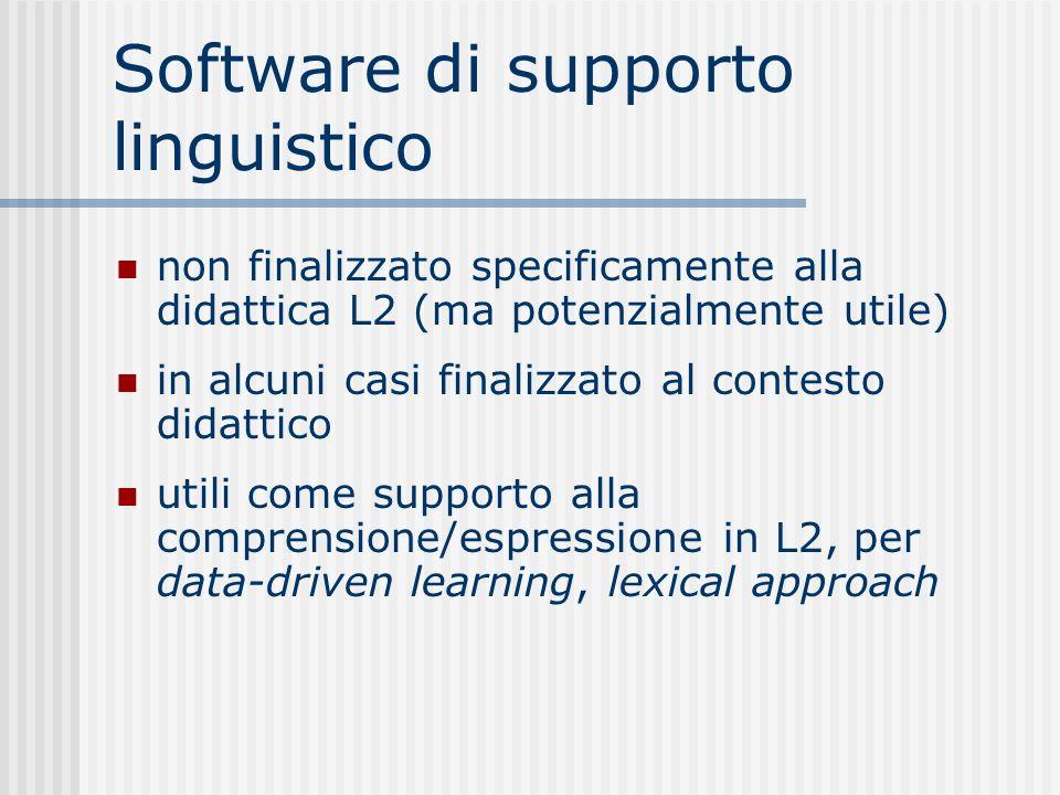 Software di supporto linguistico non finalizzato specificamente alla didattica L2 (ma potenzialmente utile) in alcuni casi finalizzato al contesto didattico utili come supporto alla comprensione/espressione in L2, per data-driven learning, lexical approach