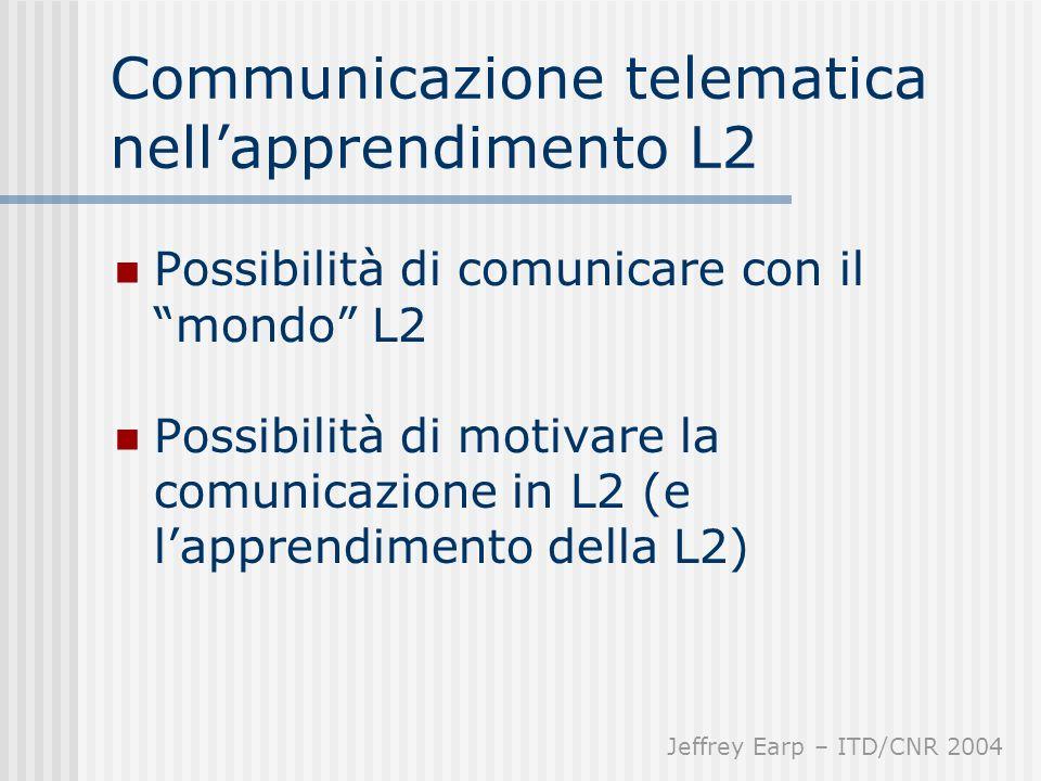 Communicazione telematica nellapprendimento L2 Possibilità di comunicare con il mondo L2 Possibilità di motivare la comunicazione in L2 (e lapprendimento della L2) Jeffrey Earp – ITD/CNR 2004