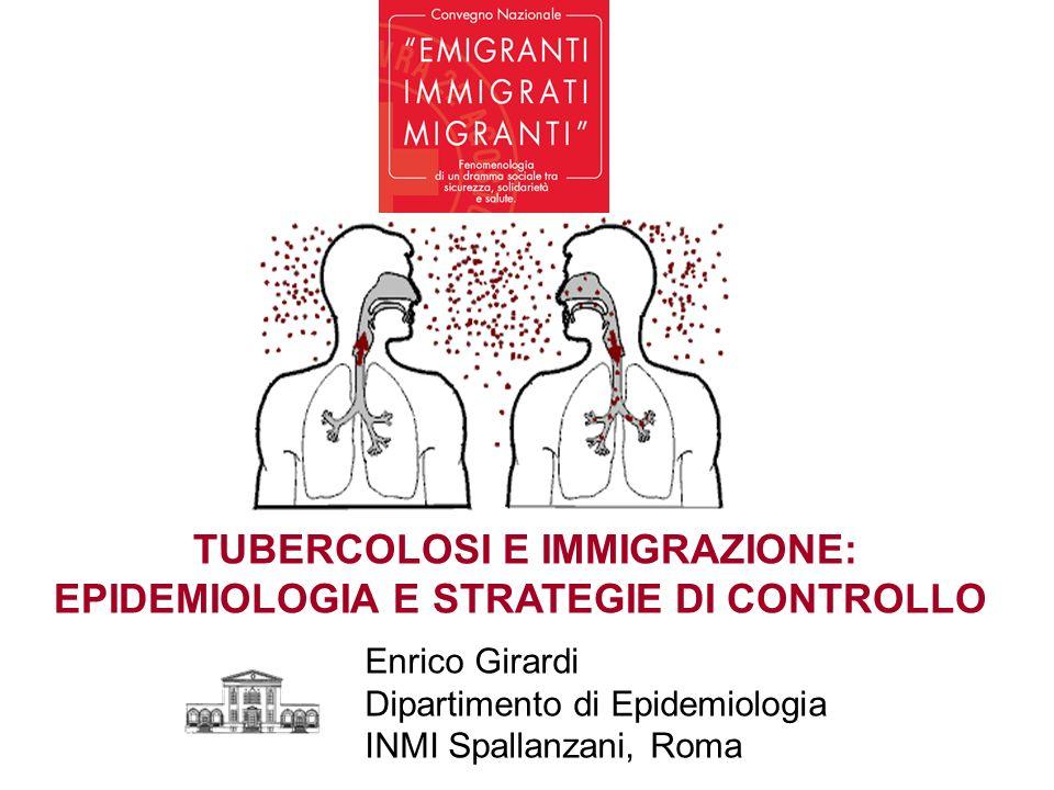 TUBERCOLOSI E IMMIGRAZIONE: EPIDEMIOLOGIA E STRATEGIE DI CONTROLLO Enrico Girardi Dipartimento di Epidemiologia INMI Spallanzani, Roma