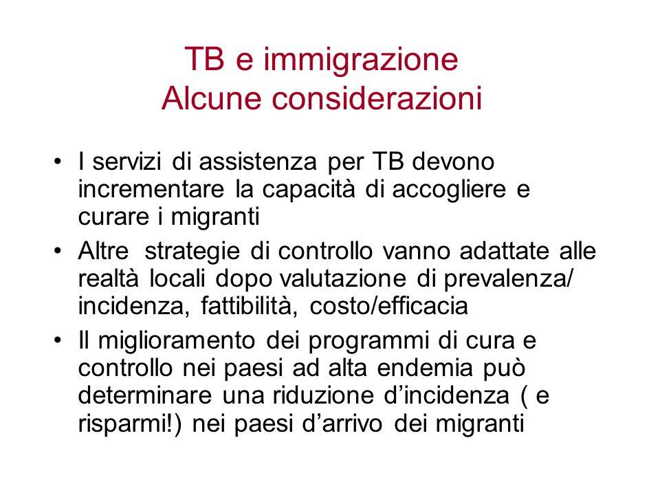 TB e immigrazione Alcune considerazioni I servizi di assistenza per TB devono incrementare la capacità di accogliere e curare i migranti Altre strateg