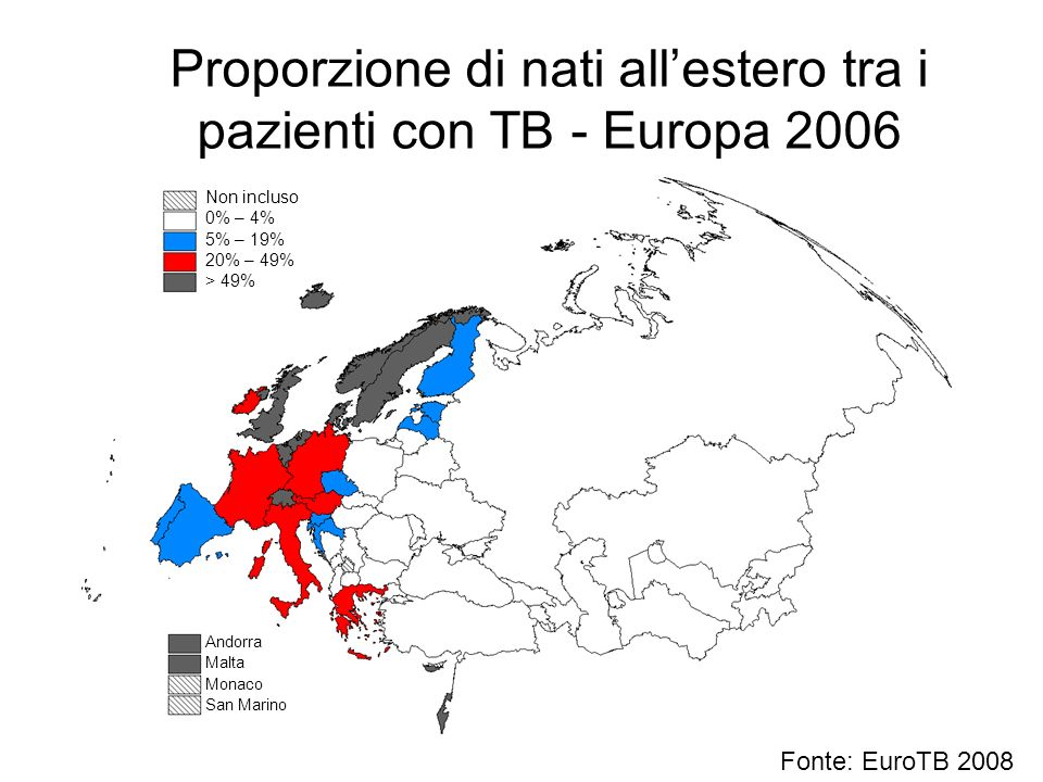 Proporzione di nati allestero tra i pazienti con TB - Europa 2006 Andorra Malta Monaco San Marino Non incluso 0% – 4% 5% – 19% 20% – 49% > 49% Fonte:
