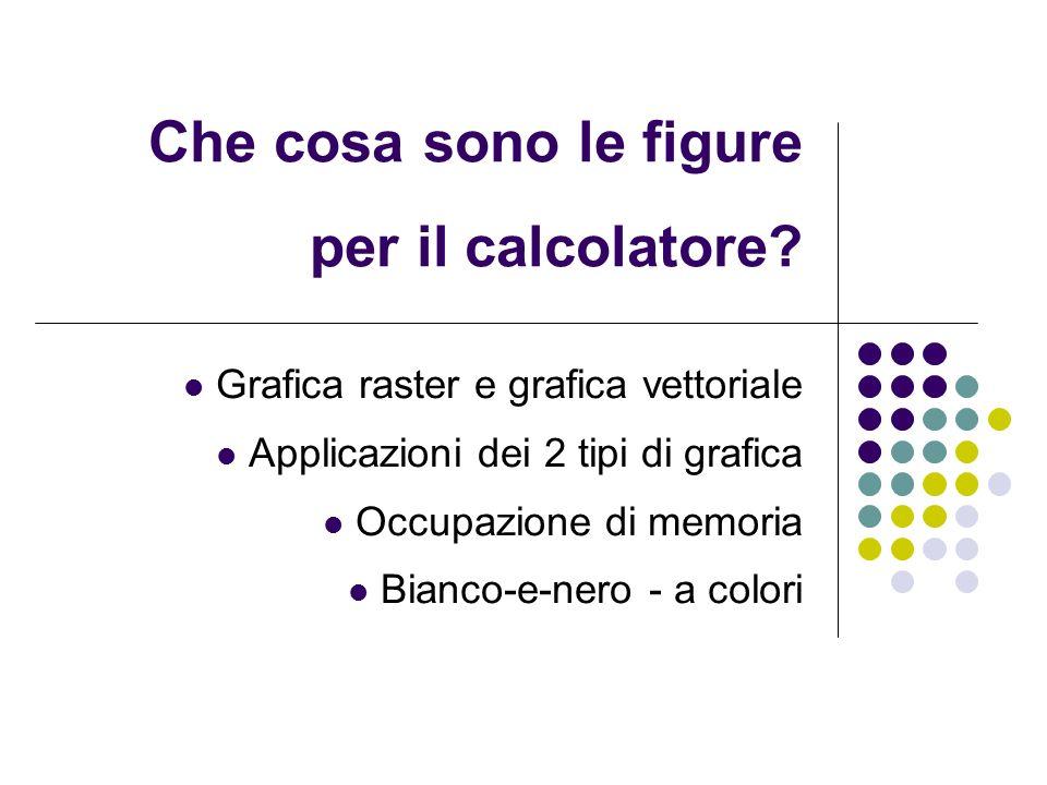 Che cosa sono le figure per il calcolatore? Grafica raster e grafica vettoriale Applicazioni dei 2 tipi di grafica Occupazione di memoria Bianco-e-ner