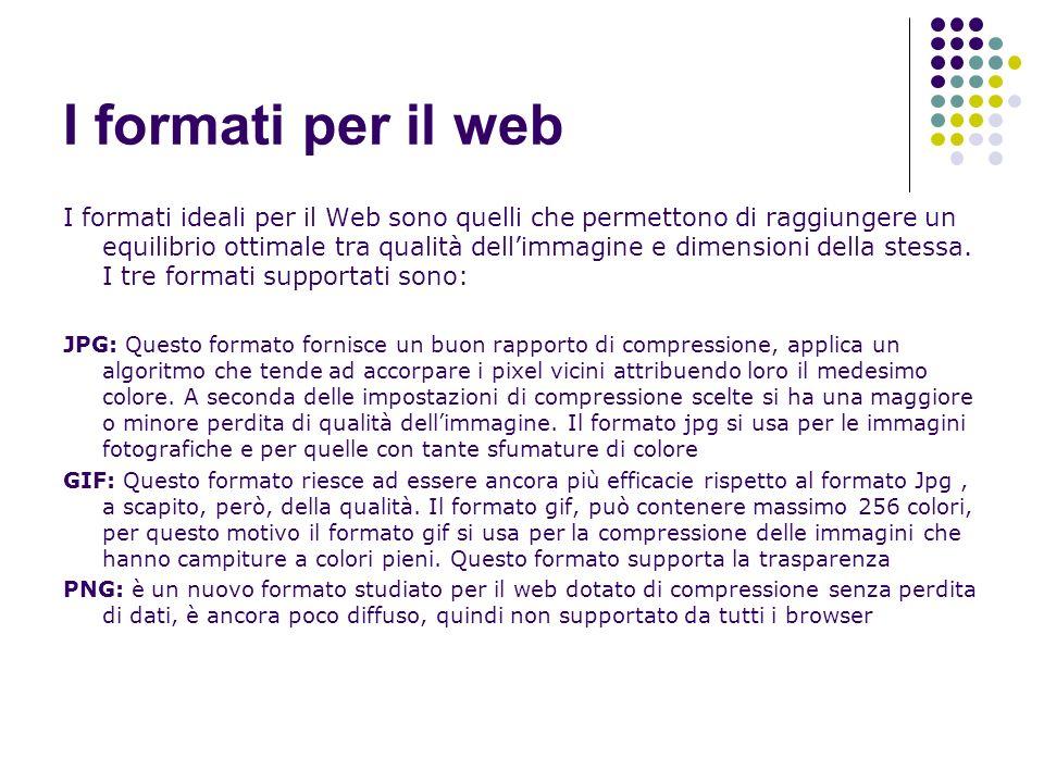 I formati per il web I formati ideali per il Web sono quelli che permettono di raggiungere un equilibrio ottimale tra qualità dellimmagine e dimension