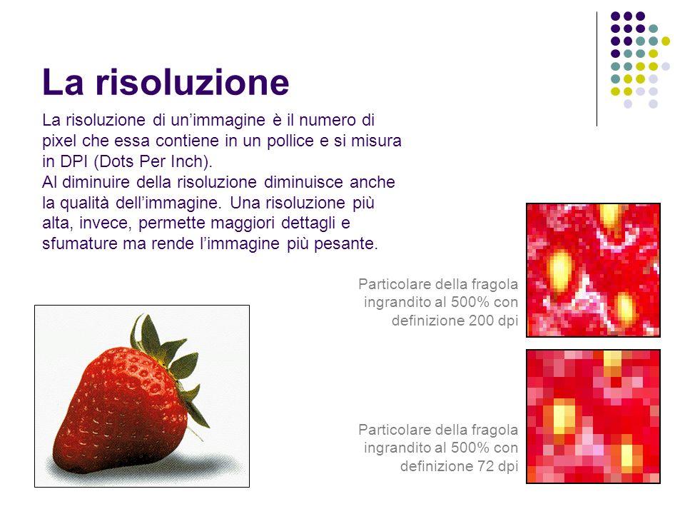 La risoluzione La risoluzione di unimmagine è il numero di pixel che essa contiene in un pollice e si misura in DPI (Dots Per Inch). Al diminuire dell