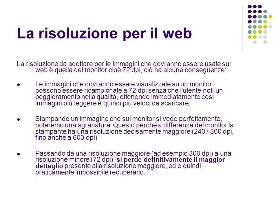 La risoluzione per il web La risoluzione da adottare per le immagini che dovranno essere usate sul web è quella del monitor cioè 72 dpi, ciò ha alcune