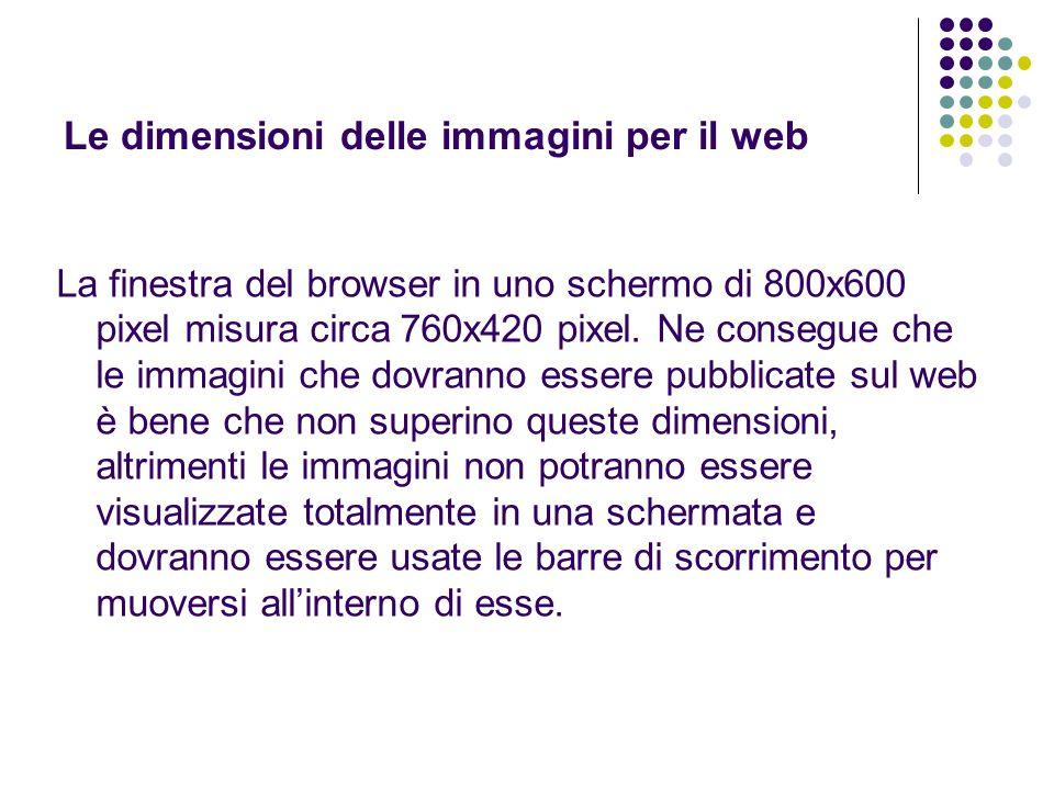 Le dimensioni delle immagini per il web La finestra del browser in uno schermo di 800x600 pixel misura circa 760x420 pixel. Ne consegue che le immagin