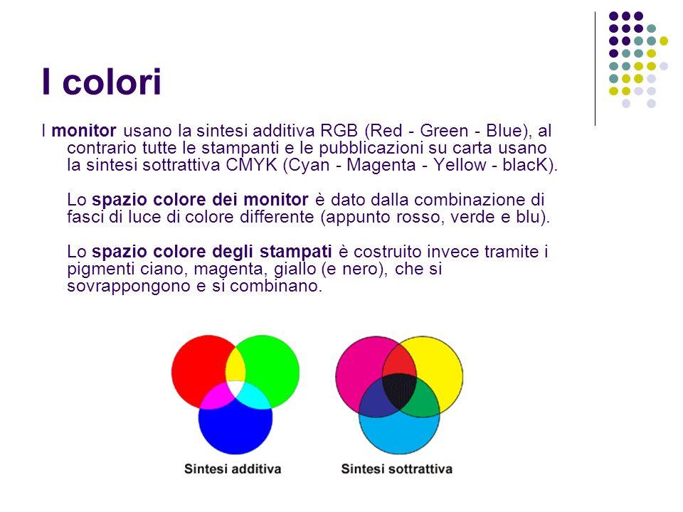 I colori I monitor usano la sintesi additiva RGB (Red - Green - Blue), al contrario tutte le stampanti e le pubblicazioni su carta usano la sintesi so