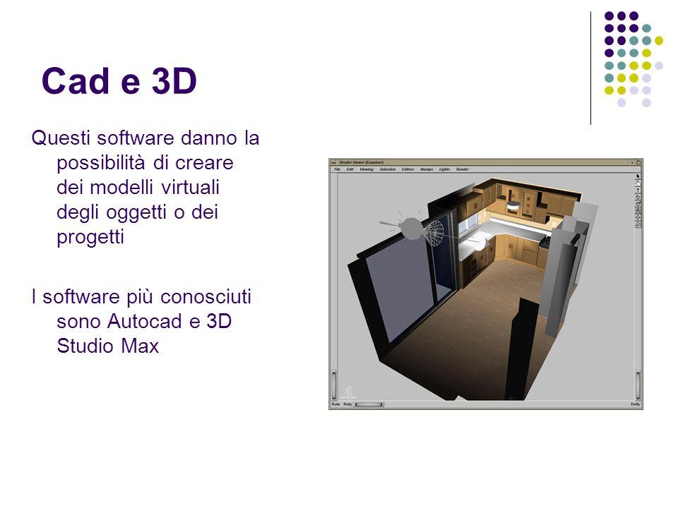 Cad e 3D Questi software danno la possibilità di creare dei modelli virtuali degli oggetti o dei progetti I software più conosciuti sono Autocad e 3D