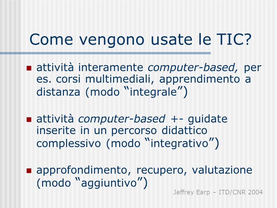 Come vengono usate le TIC? attività interamente computer-based, per es. corsi multimediali, apprendimento a distanza (modo integrale ) attività comput