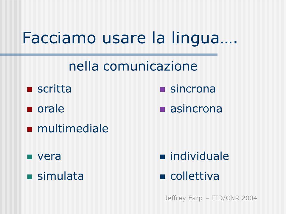 Facciamo usare la lingua…. sincrona asincrona scritta orale multimediale nella comunicazione vera simulata individuale collettiva Jeffrey Earp – ITD/C