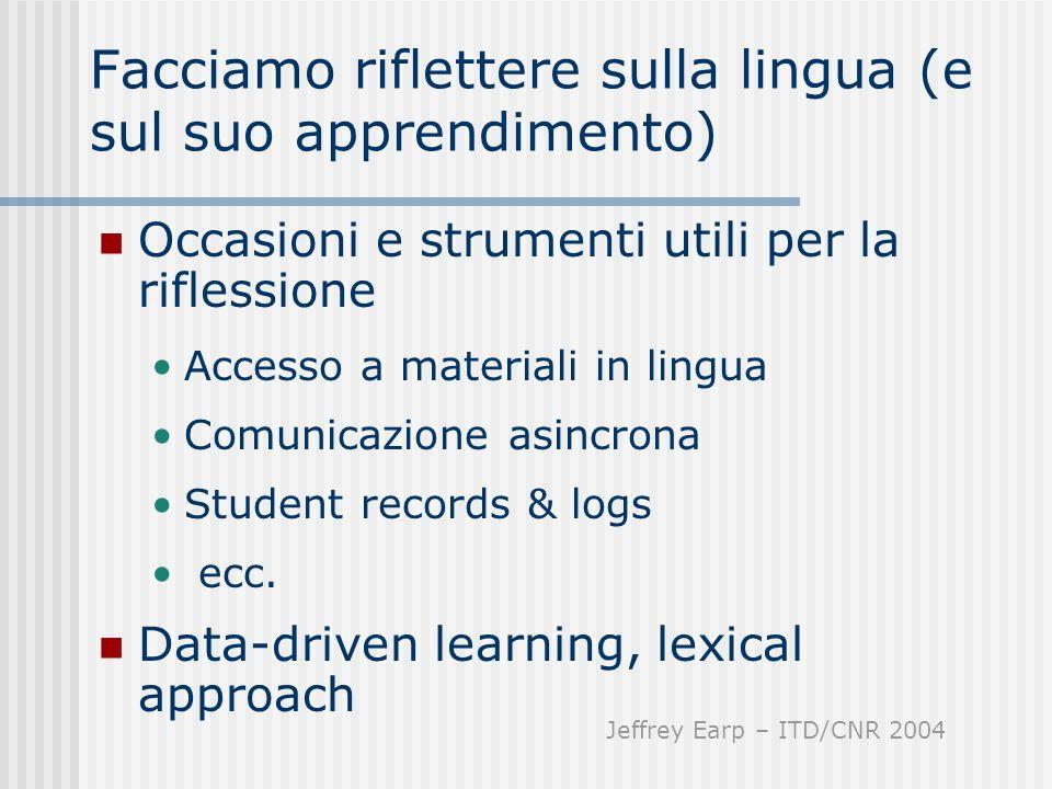 Facciamo riflettere sulla lingua (e sul suo apprendimento) Occasioni e strumenti utili per la riflessione Accesso a materiali in lingua Comunicazione