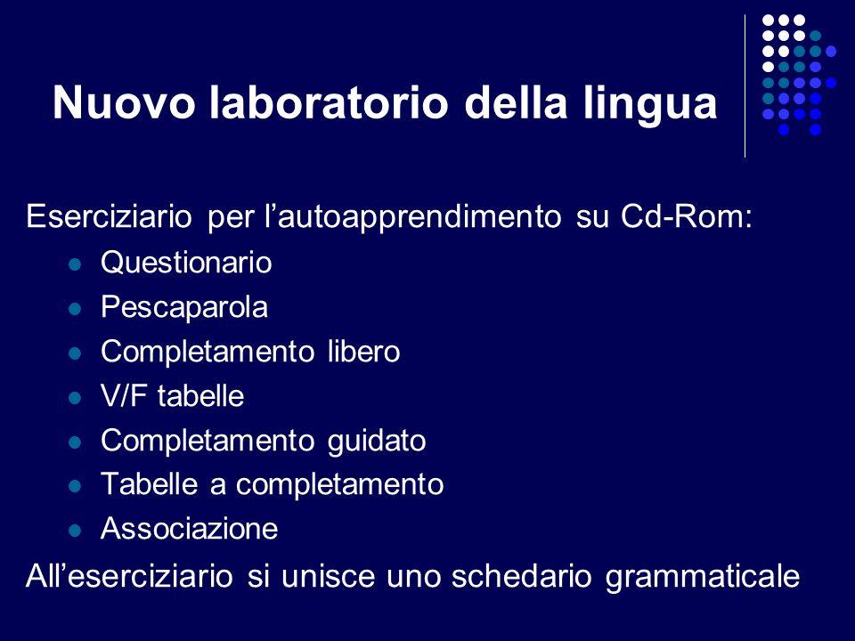 Nuovo laboratorio della lingua Eserciziario per lautoapprendimento su Cd-Rom: Questionario Pescaparola Completamento libero V/F tabelle Completamento