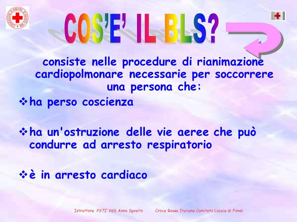 consiste nelle procedure di rianimazione cardiopolmonare necessarie per soccorrere una persona che: ha perso coscienza ha un'ostruzione delle vie aere
