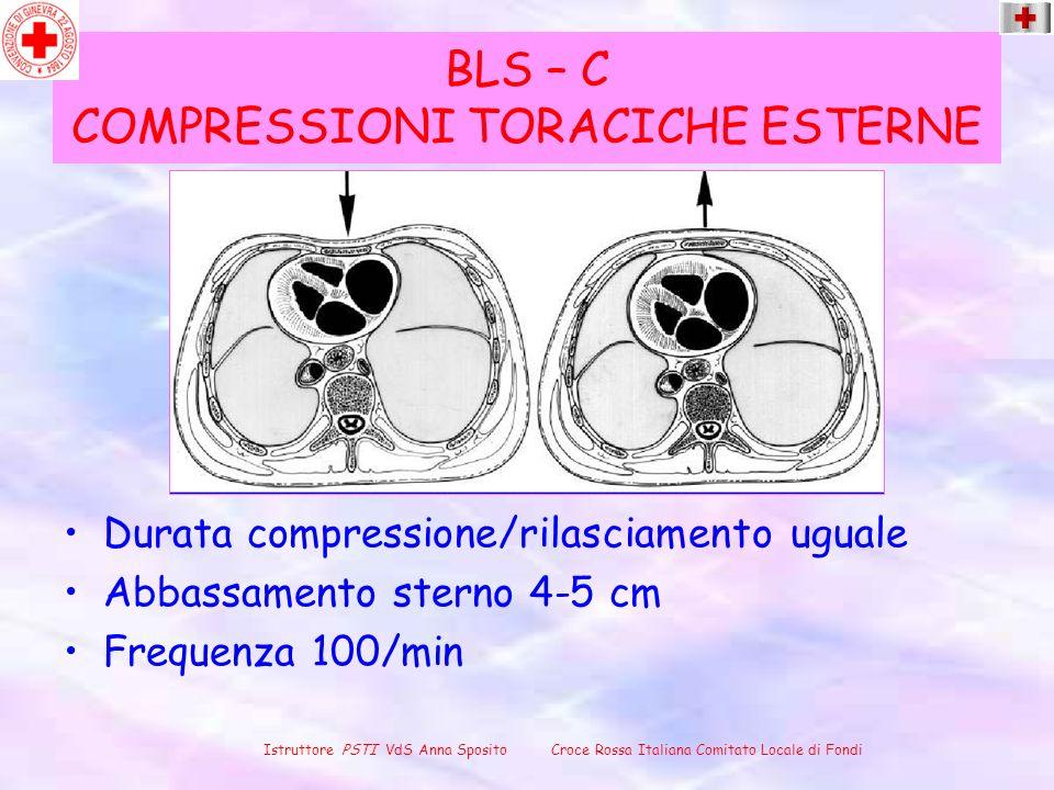 BLS – C COMPRESSIONI TORACICHE ESTERNE Durata compressione/rilasciamento uguale Abbassamento sterno 4-5 cm Frequenza 100/min Istruttore PSTI VdS Anna