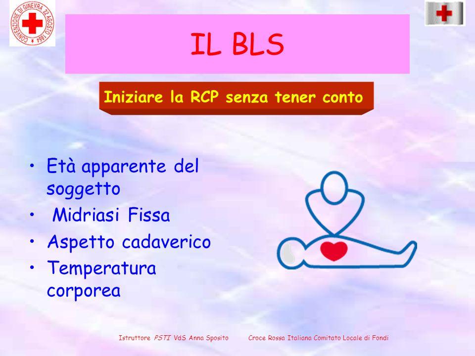 IL BLS Età apparente del soggetto Midriasi Fissa Aspetto cadaverico Temperatura corporea Iniziare la RCP senza tener conto Istruttore PSTI VdS Anna Sp
