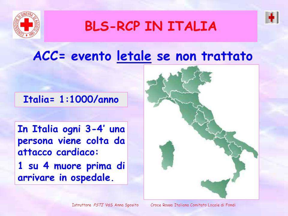 BLS-RCP IN ITALIA ACC= evento letale se non trattato Italia= 1:1000/anno In Italia ogni 3-4 una persona viene colta da attacco cardiaco: 1 su 4 muore