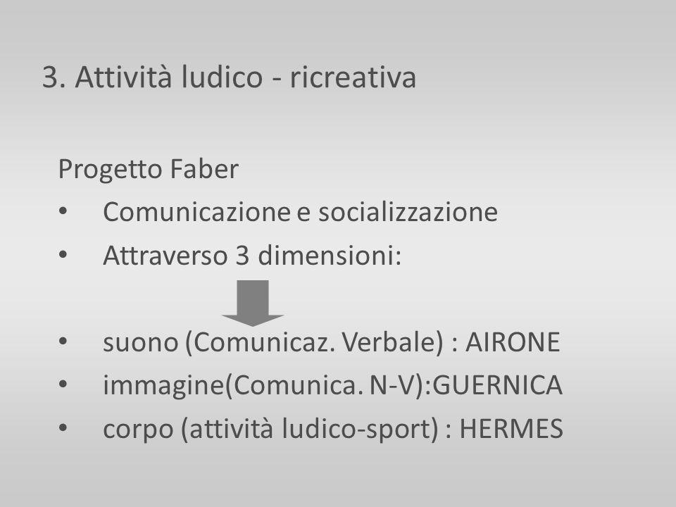 3. Attività ludico - ricreativa Progetto Faber Comunicazione e socializzazione Attraverso 3 dimensioni: suono (Comunicaz. Verbale) : AIRONE immagine(C