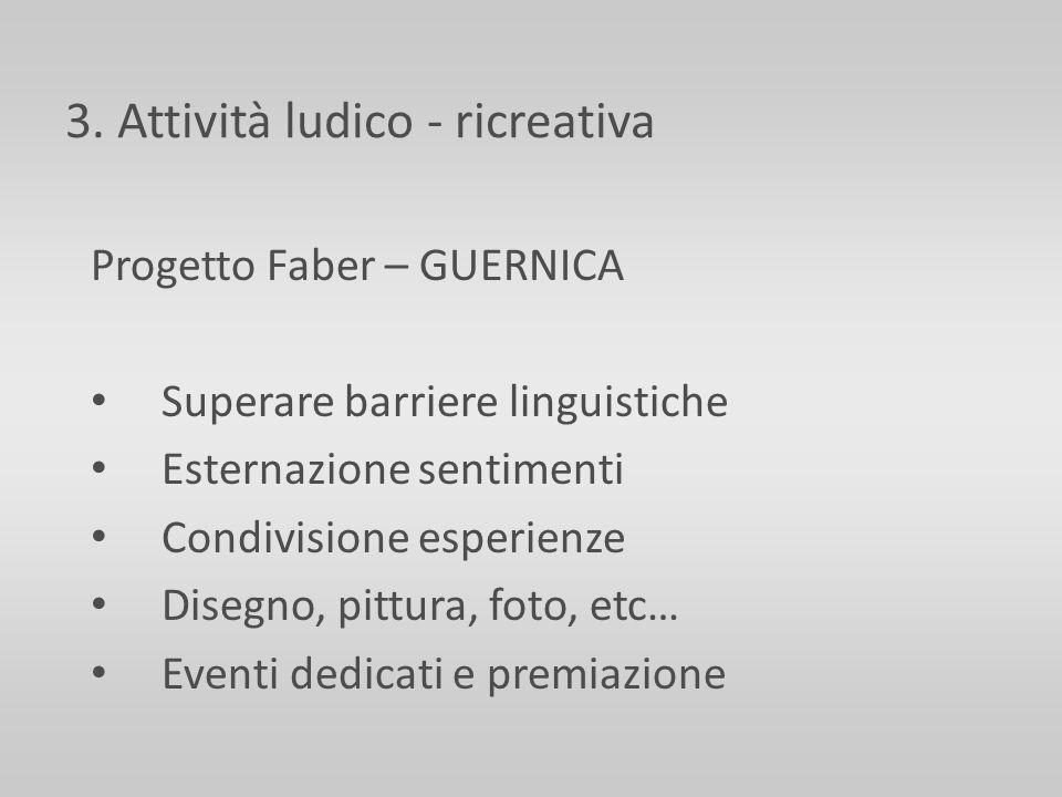 3. Attività ludico - ricreativa Progetto Faber – GUERNICA Superare barriere linguistiche Esternazione sentimenti Condivisione esperienze Disegno, pitt