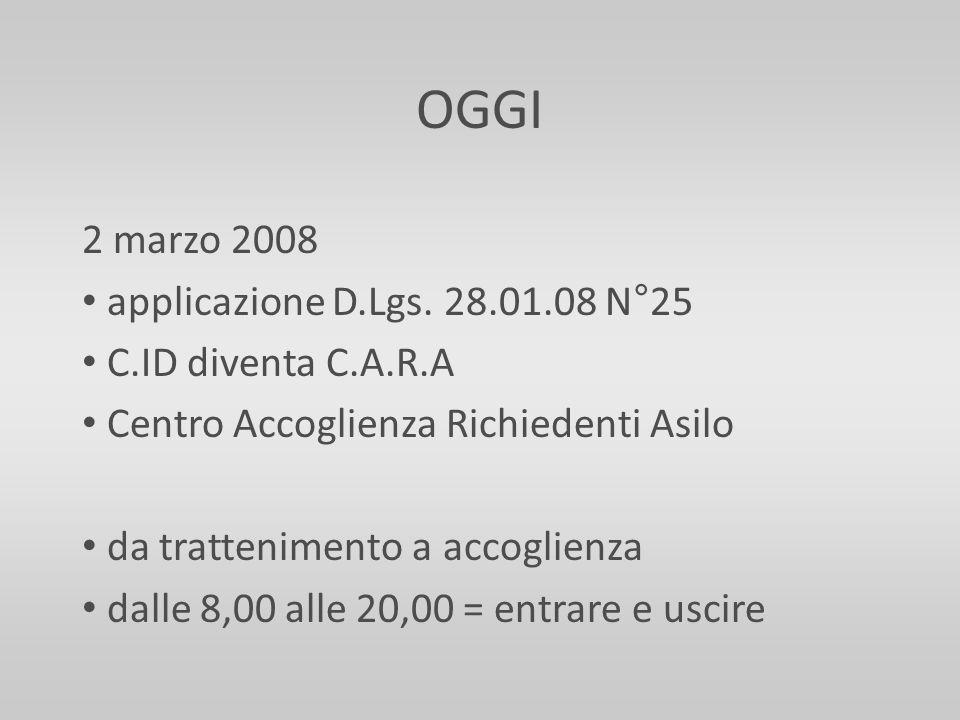 OGGI 2 marzo 2008 applicazione D.Lgs. 28.01.08 N°25 C.ID diventa C.A.R.A Centro Accoglienza Richiedenti Asilo da trattenimento a accoglienza dalle 8,0