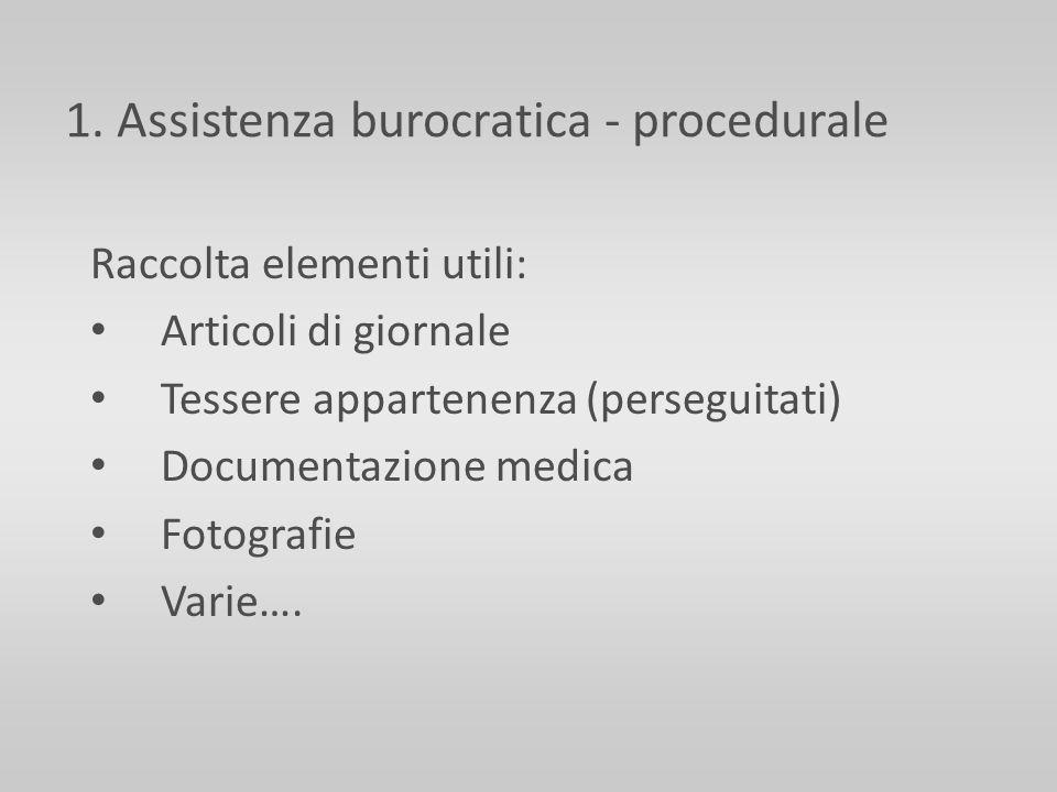 1. Assistenza burocratica - procedurale Raccolta elementi utili: Articoli di giornale Tessere appartenenza (perseguitati) Documentazione medica Fotogr