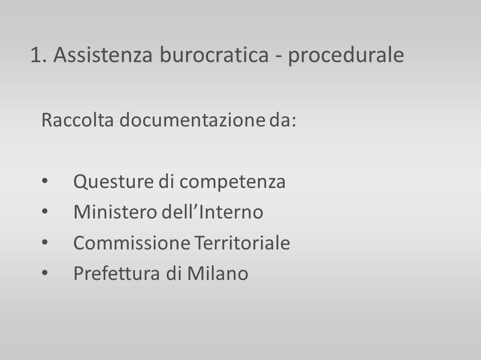 1. Assistenza burocratica - procedurale Raccolta documentazione da: Questure di competenza Ministero dellInterno Commissione Territoriale Prefettura d