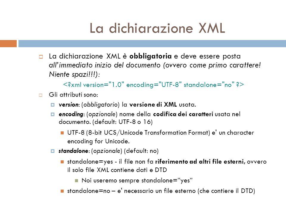 La dichiarazione XML La dichiarazione XML è obbligatoria e deve essere posta allimmediato inizio del documento (ovvero come primo carattere.