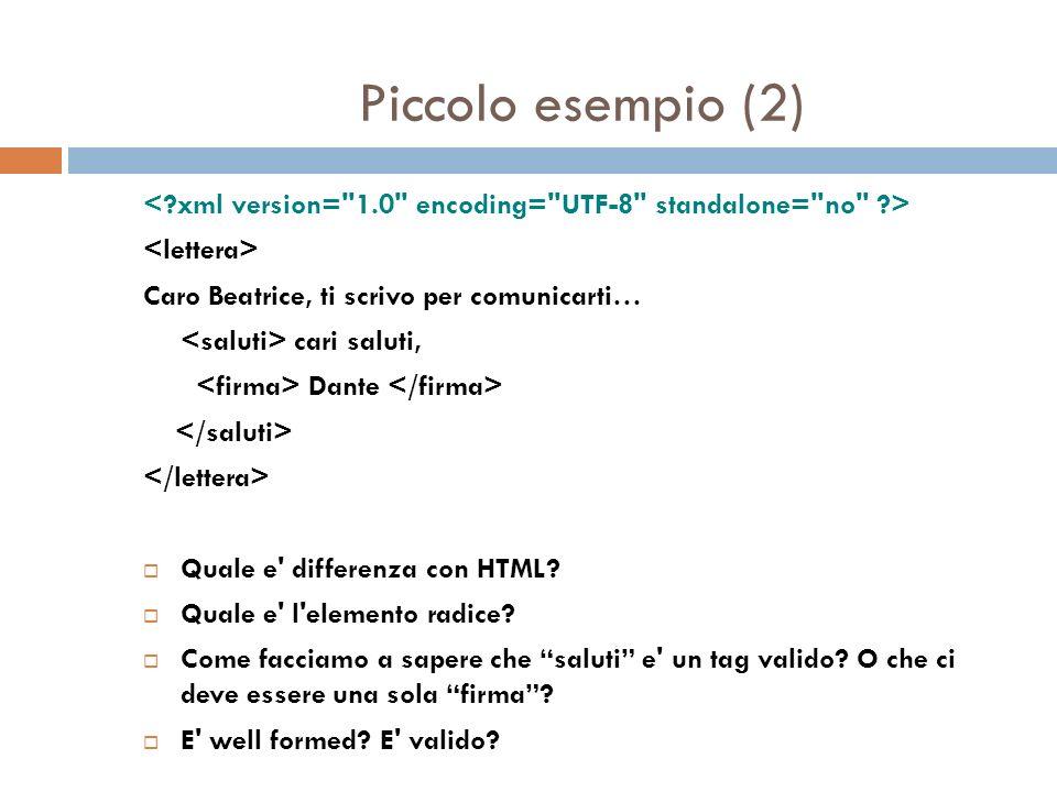 Piccolo esempio (2) Caro Beatrice, ti scrivo per comunicarti… cari saluti, Dante Quale e differenza con HTML.
