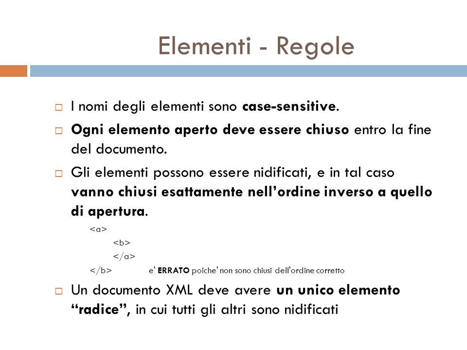 Elementi - Regole I nomi degli elementi sono case-sensitive.
