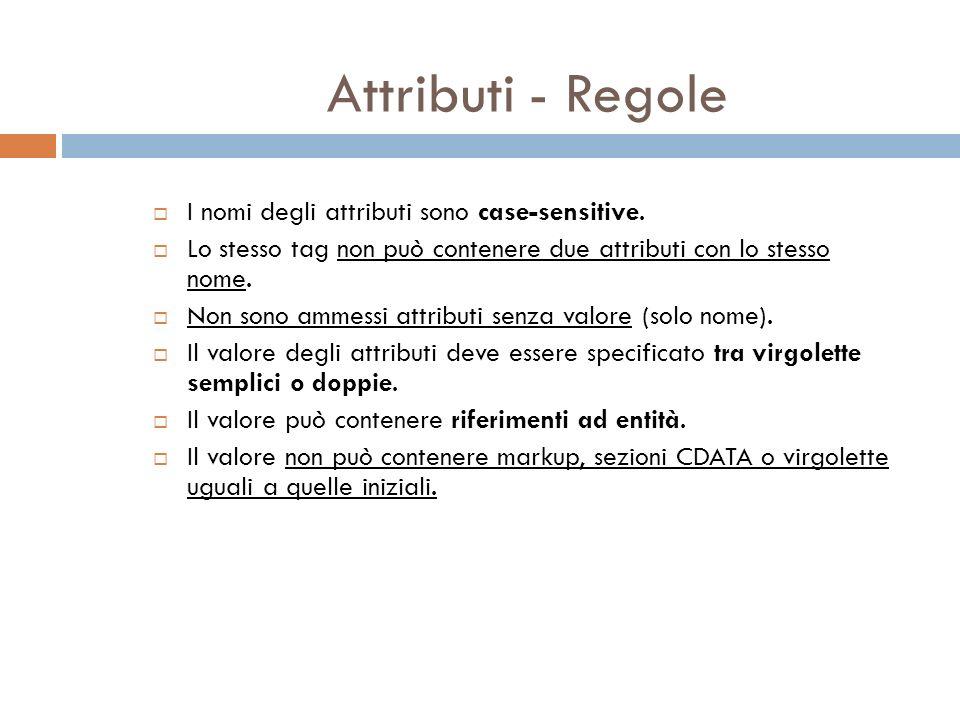 Attributi - Regole I nomi degli attributi sono case-sensitive.