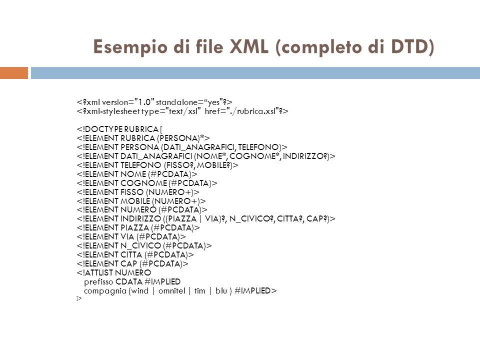 Esempio di file XML (completo di DTD) ]>