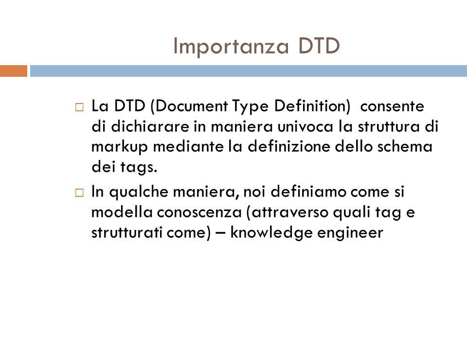 Importanza DTD La DTD (Document Type Definition) consente di dichiarare in maniera univoca la struttura di markup mediante la definizione dello schema