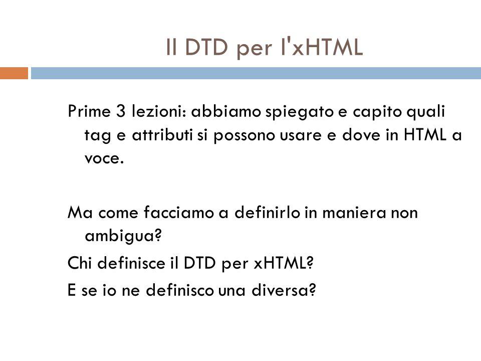 Il DTD per l'xHTML Prime 3 lezioni: abbiamo spiegato e capito quali tag e attributi si possono usare e dove in HTML a voce. Ma come facciamo a definir
