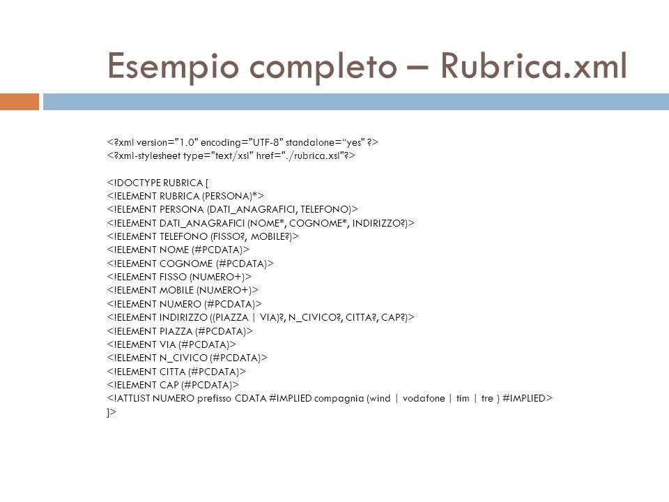 Esempio completo – Rubrica.xml <!DOCTYPE RUBRICA [ ]>