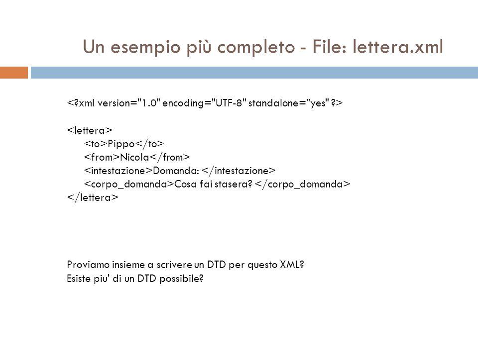 Un esempio più completo - File: lettera.xml Pippo Nicola Domanda: Cosa fai stasera? Proviamo insieme a scrivere un DTD per questo XML? Esiste piu' di