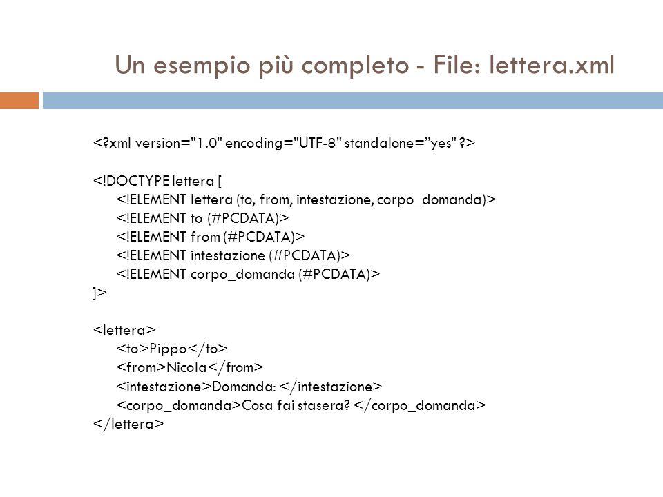 Un esempio più completo - File: lettera.xml <!DOCTYPE lettera [ ]> Pippo Nicola Domanda: Cosa fai stasera?
